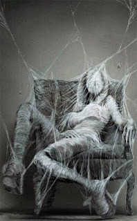 tela de araña, araña, mujer, sentada, telaraña