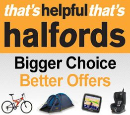 Halfords for you Car, Bike or Leisure.