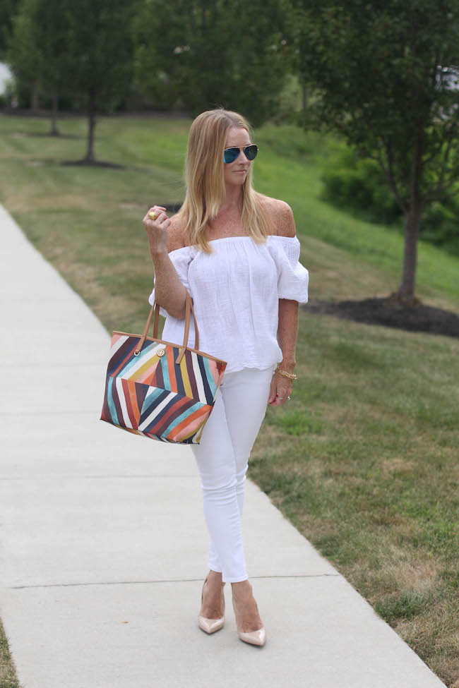 loft shirt, old navy jeans, tory burch bag, kate spade heels, ray ban sunglasses