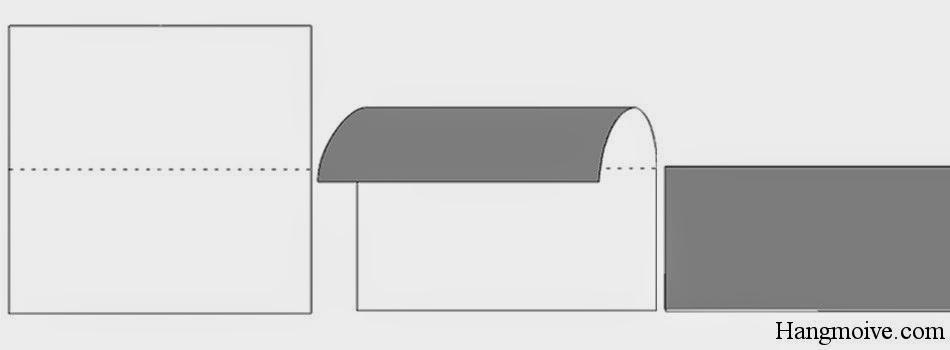 Bước 2: Gấp đôi tờ giấy lại theo chiều từ trên xuống dưới ta được một hình chữ nhật.