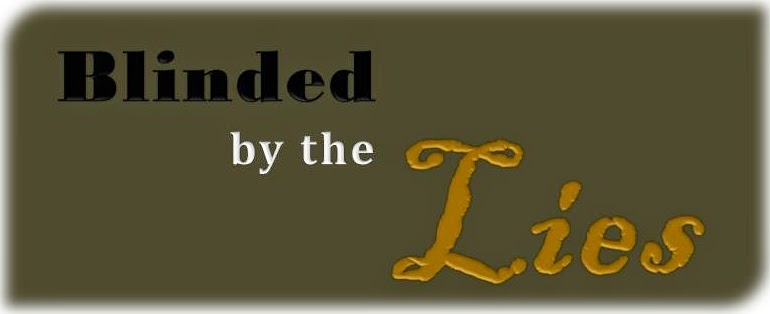 blinded by lies text, mustard colour banner
