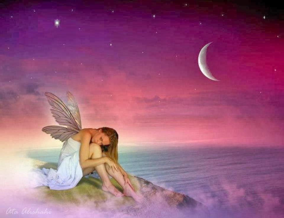 image de rêve, femme, papillon, fée