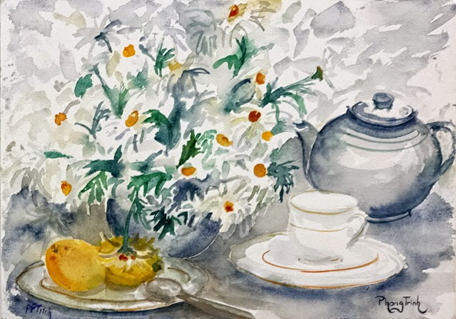 Wonderful Watercolor Painting Still life with Daisies on paper size, 29.5 x 42 cm