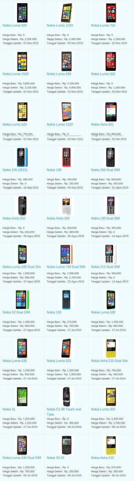 Daftar Harga Hp Nokia Januari 2016