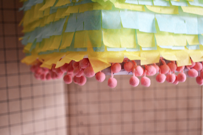 DIY Pinata Tutorial Pom Pom Tissue Mexican Flowers