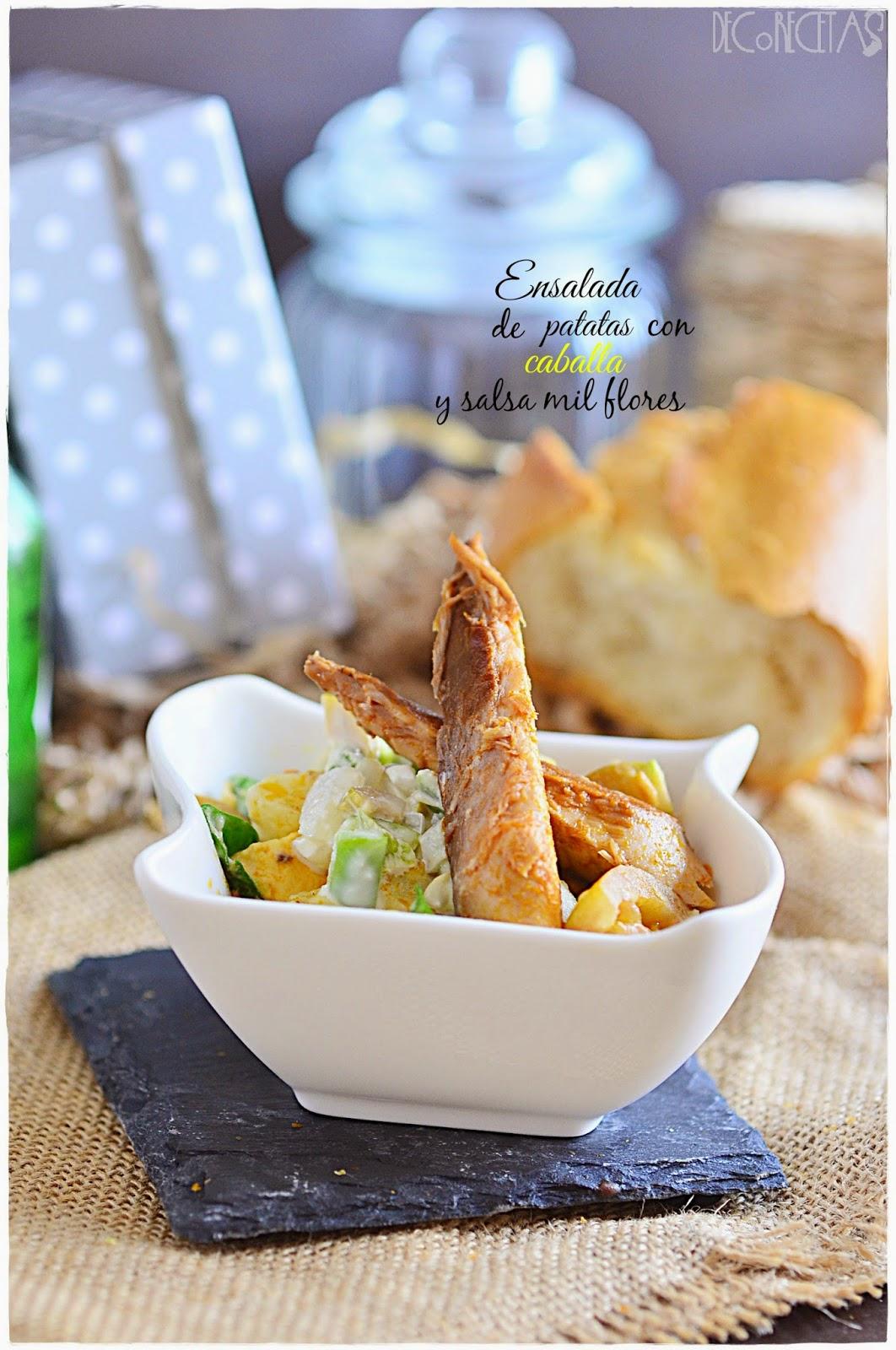 Ensalada de patatas con caballa y salsa mil flores