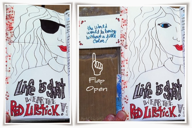 Red Lipstick Art Journal Page