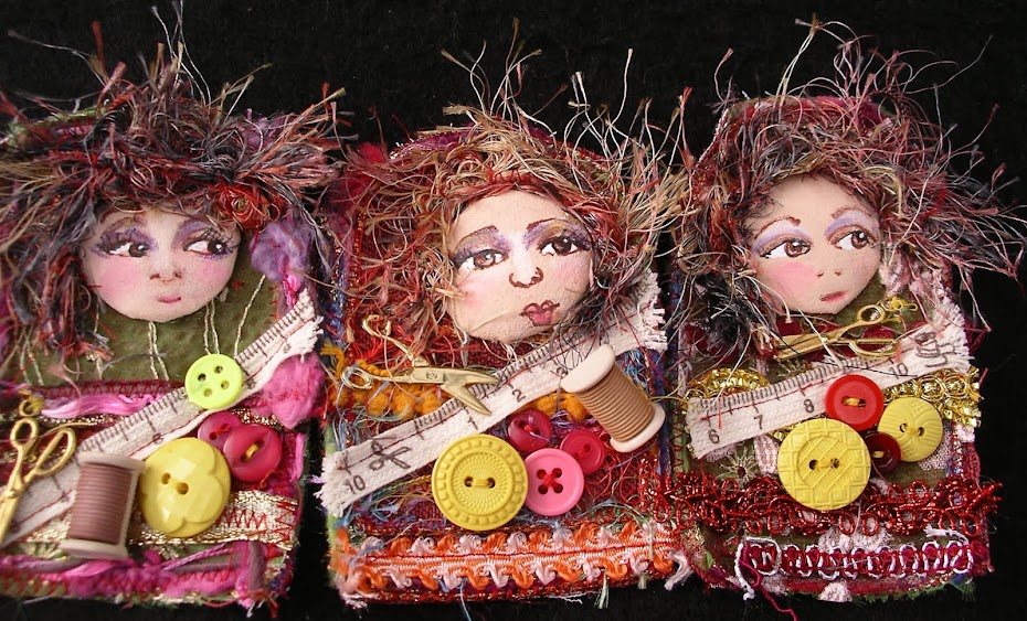Little sewing lady brooches