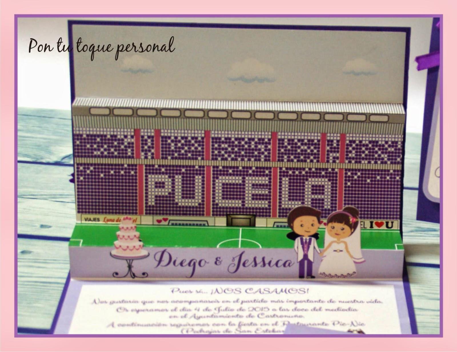 Invitacion de boda novios personalizados tipo cómic tema fútbol