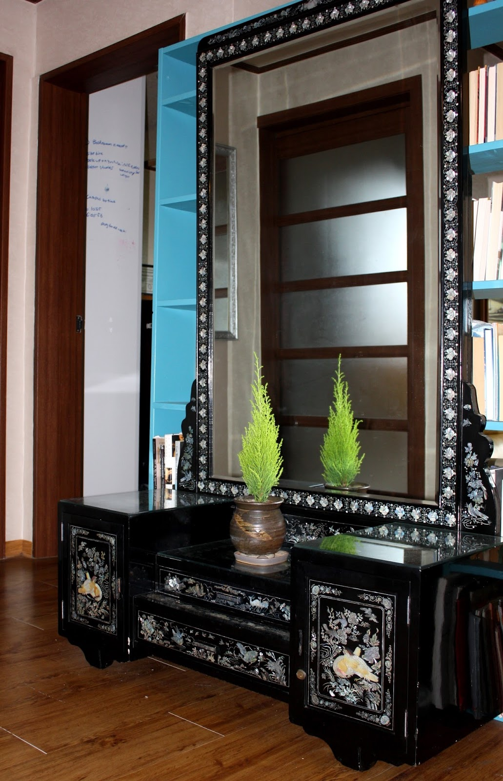 Black Lacquer Mirror And Vanity Stand With Inlaid Mother Of Pearl Vintage Korean Furniture 40 Years Old I Found It In The Trash
