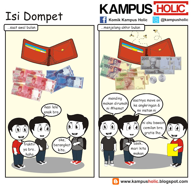 #193 Isi Dompet, komik strip mahasiswa universitas holic komik kampus holic