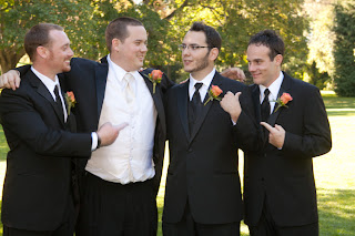 Andrew's groomsmen wish him well