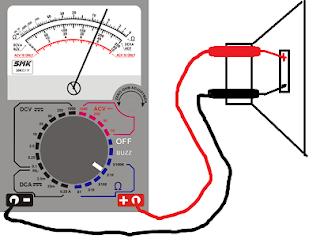 Mengukur spul speaker dengan multimeter