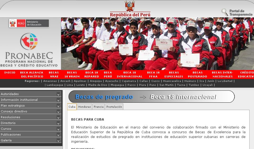 Registro beca 18 para Cuba en Perú PRONABEC requisitos inscripción postulación