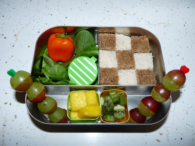 checkerboard bento lunch