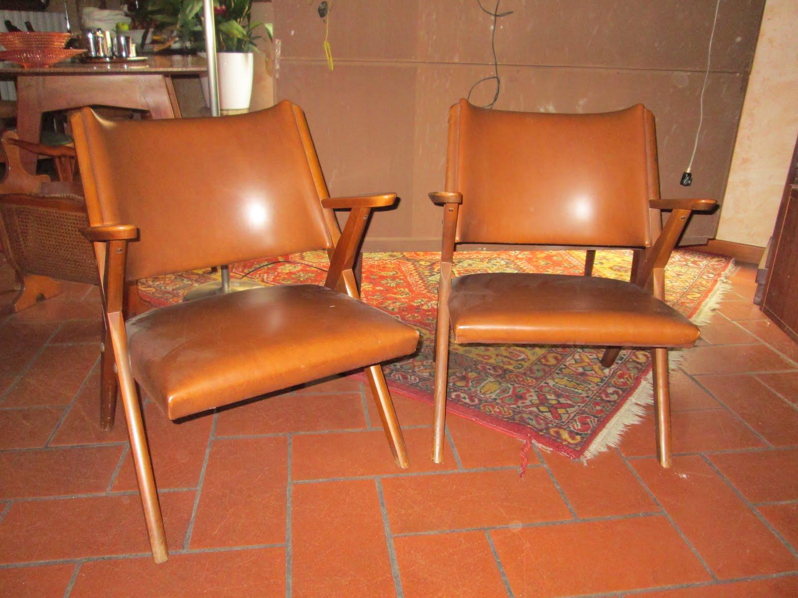Coppia Di Poltrone Vintage Dal Vera Italy Design Anni 50 60