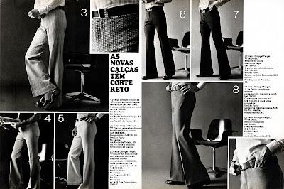 Moda anos 70. História década 70. moda masculina anos 70.Artigo moda masculina - 1973