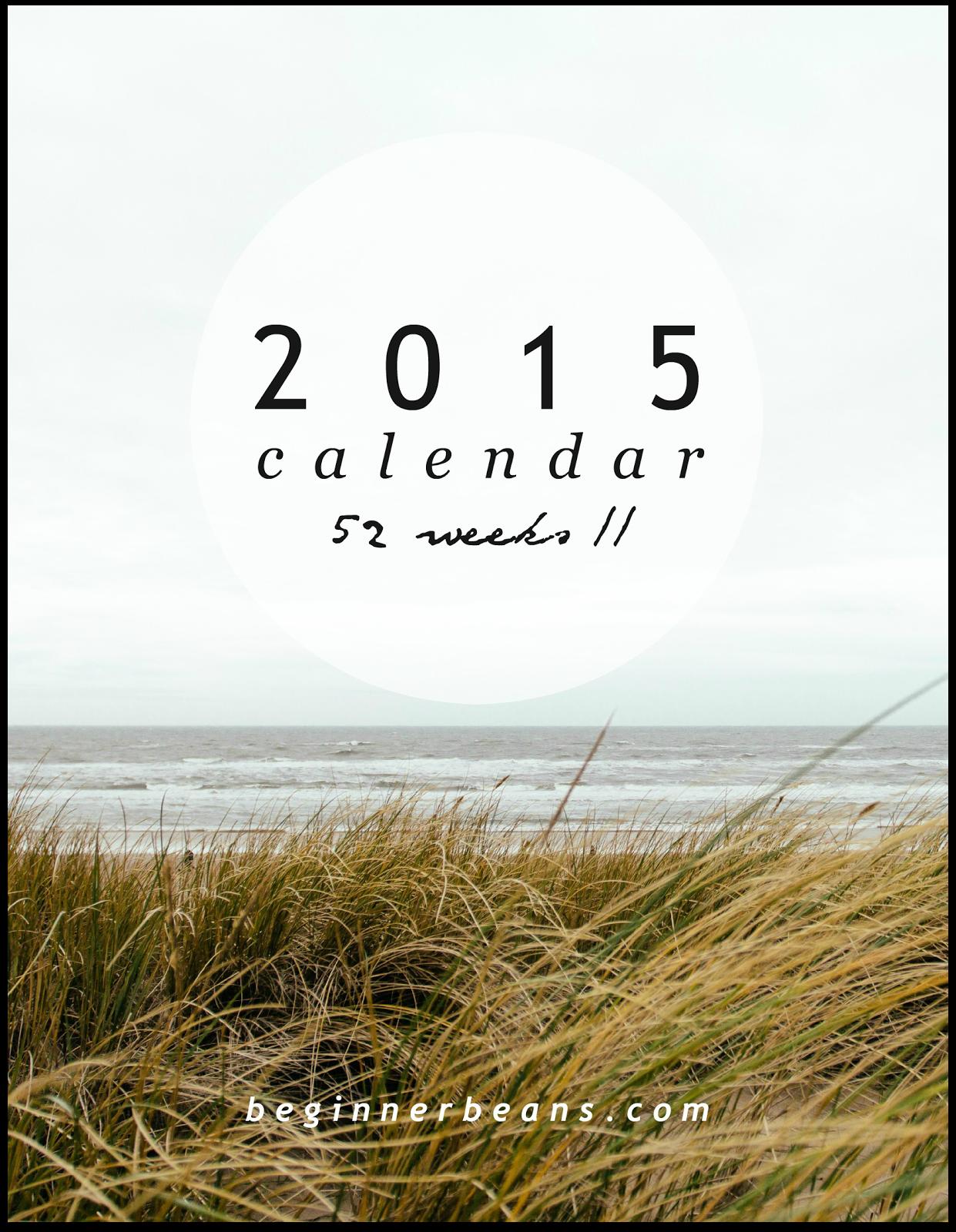 52-Week Printable 2015 Calendar