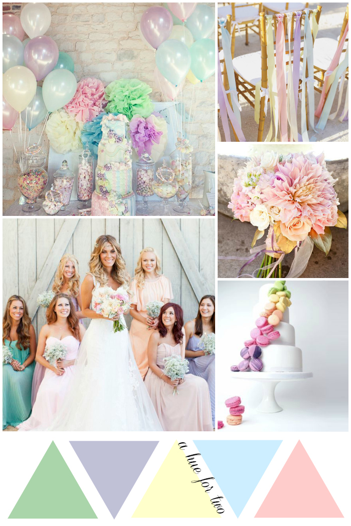 Pastel Rainbow Wedding Colour Scheme | www.ahuefortwo.com