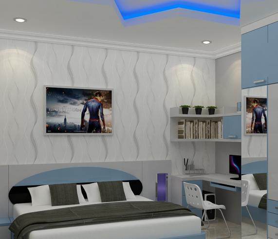 desain kamar warna biru