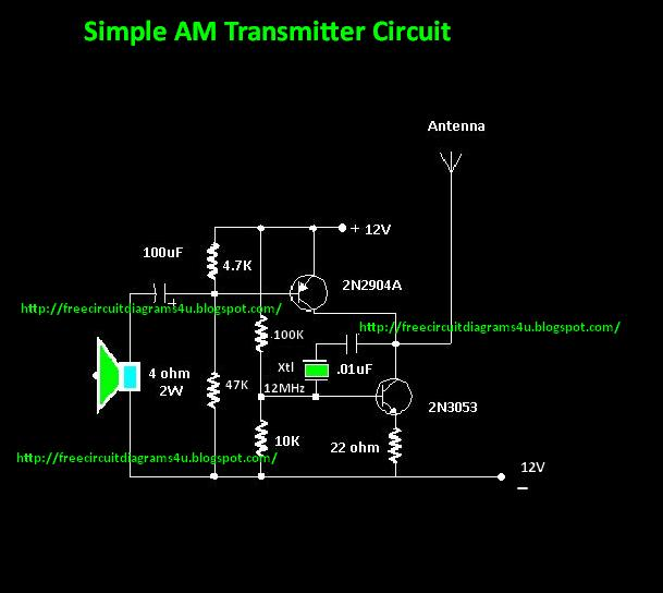 Free Circuit Diagrams 4u  Simple Am Transmitter Circuit