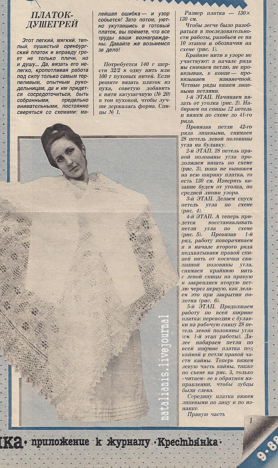 Описание вязания пуховых платков
