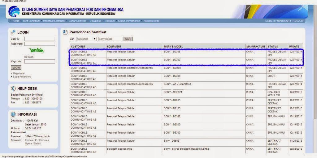 Sony D2303 dan D2305 mendapat sertifikasi postel Indonesia