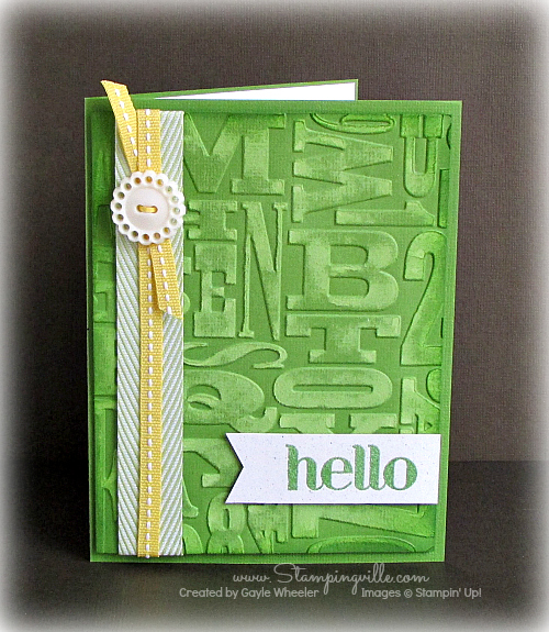 Gumball Green hello card with Alphabet Press embossed background