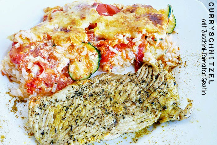 Curryschnitzel mit Zucchini-Tomatengratin