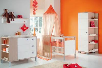 Dormitorio naranja colores bebe