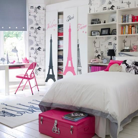 V mo l em casa quarto de menina mo a adolescente for Decoration chambre theme paris