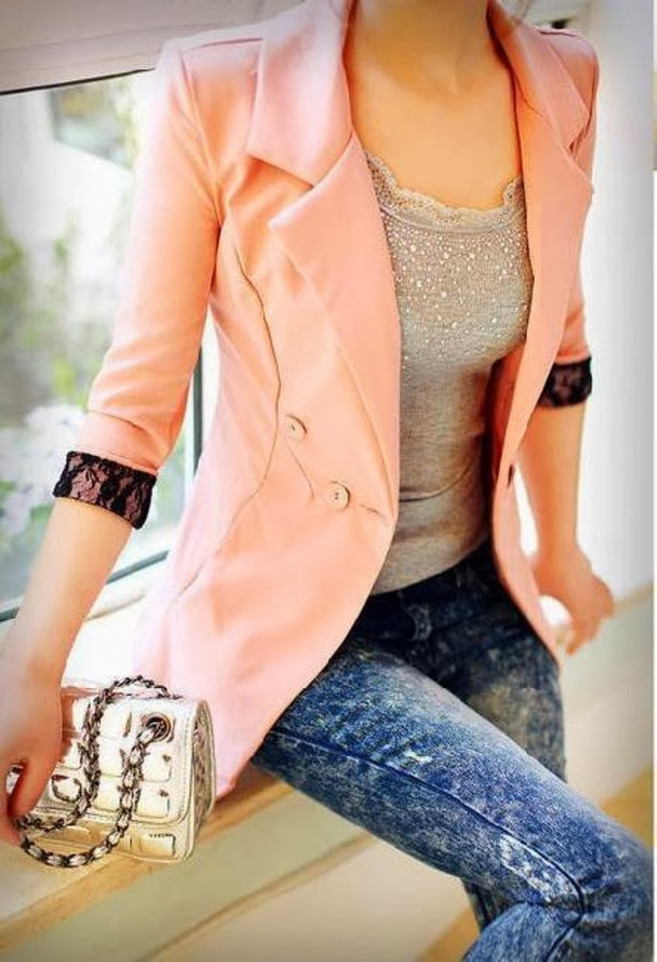 Pink Jacket and Jeans with White Blouse, Interesting  Long Bag