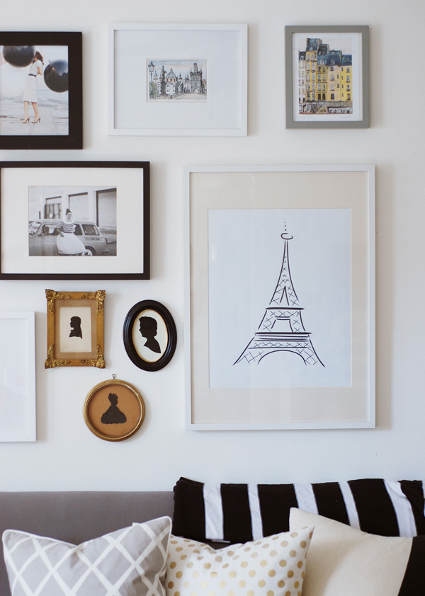 My Paris Inspired Gallery Wall Complete With My Own Letterpress Print Of  The Eiffel Tower. You Can Purchase Here.