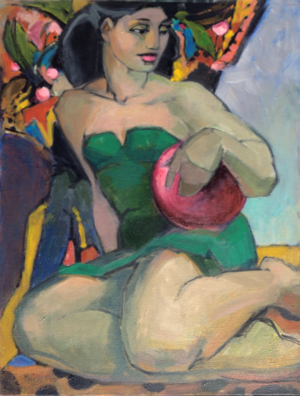 The Red Ball Figurative Painting Of Woman At Beach Ocean Original Acrylic On Stretched Canvas 24 X 18 Edges 75 Inch And Painted Black For