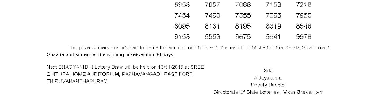 BHAGYANIDHI Lottery BN 211 Result 6-11-2015