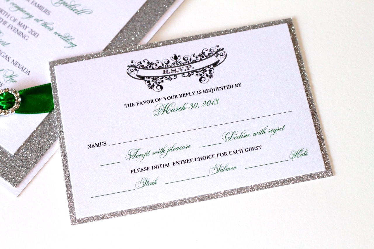 Gorgeous Emerald Green and Silver Glitter Wedding Invitations ...