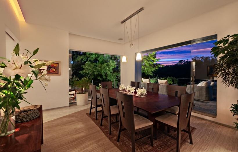 Modern dining room at night
