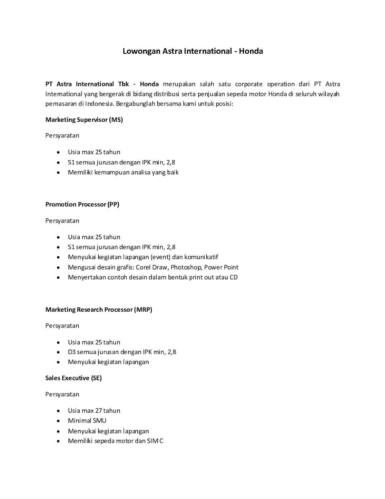 5 contoh surat lamaran kerja pt astra   ben jobs