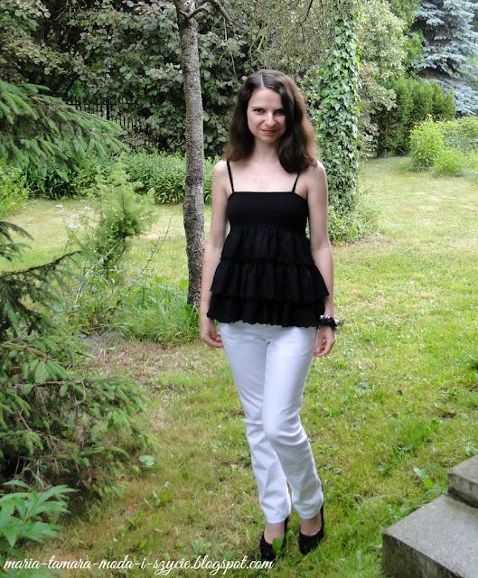 damska bluzka z falbanami