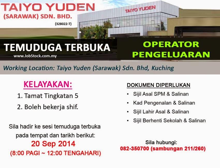 Temuduga Terbuka Operator Pengeluaran Taiyo Yuden