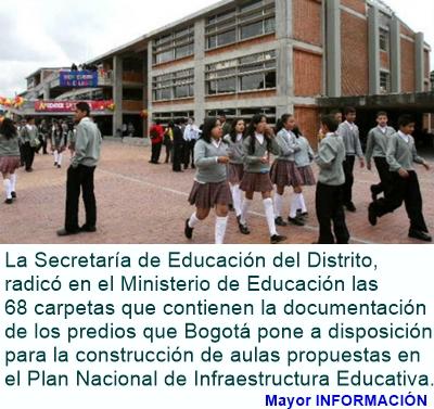 BOGOTÁ: Distrito entregó 68 predios al Gobierno Nacional para construcción de aulas