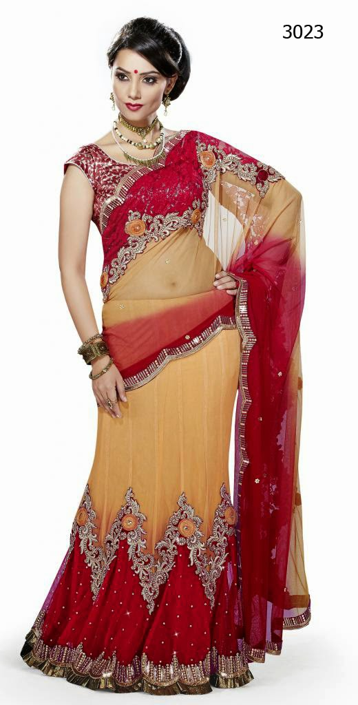 Letest Lengha type Saree-Online Shopping, Exclusive Designer Embroideries Resham Work Saree in Jodhpur