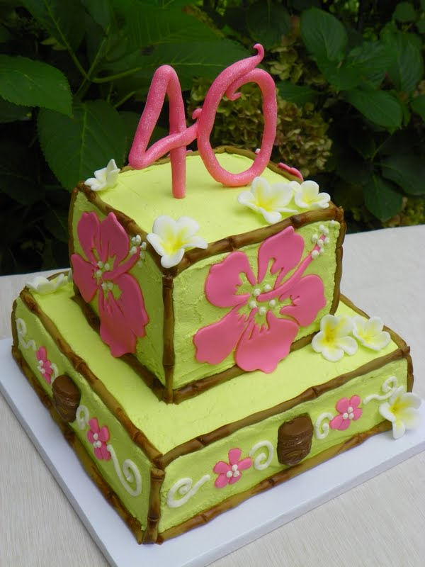 Plumeria Cake Studio Hawaiian Themed 40th Birthday Cake
