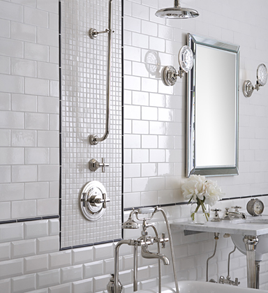 black and white tile bathroom. lack and white tiled