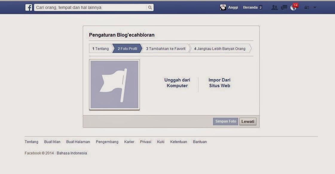 Pilih foto profil untuk fanspage yang telah anda buat.