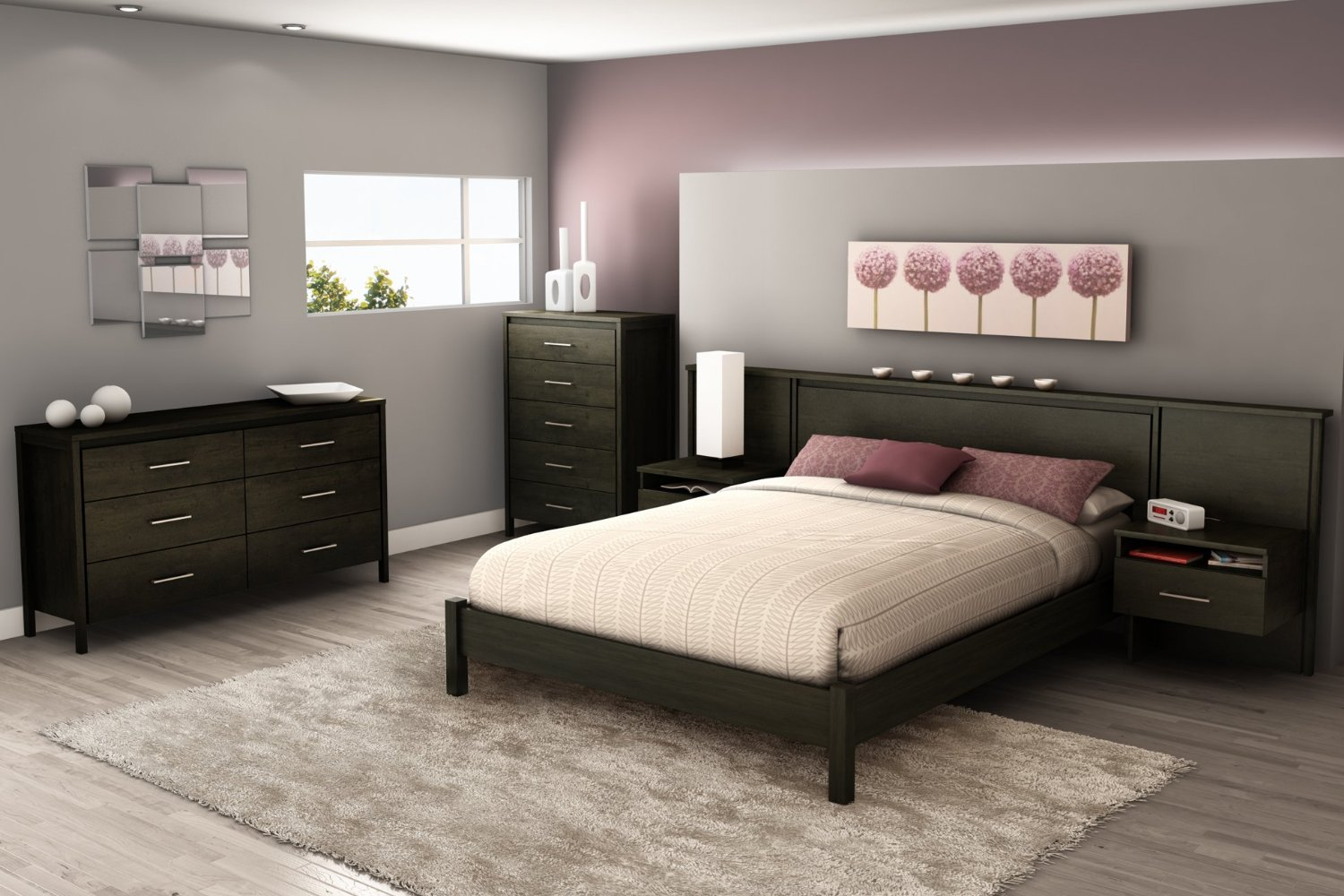 Total fab headboard with nightstands attached for Bedroom set and mattress