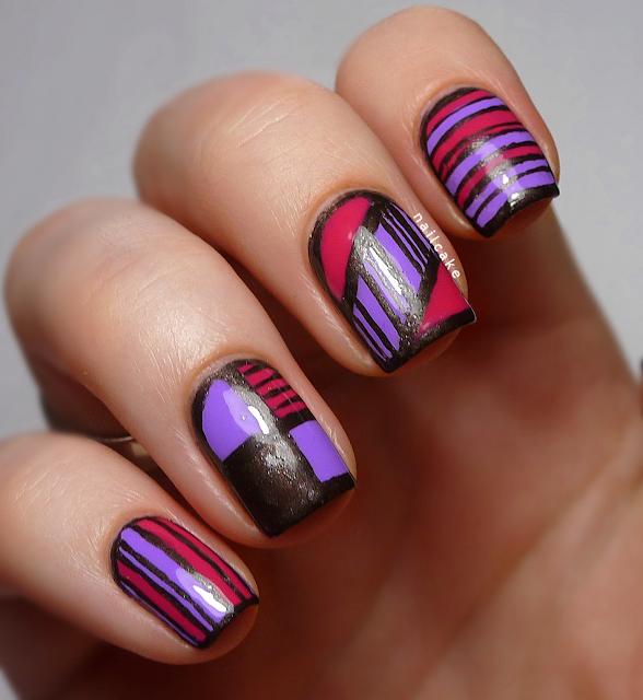 Nail art in mix & match geometric/striped patterns, with Illamasqua Jo'Mina, Barry M Shocking Pink & 17 Smokey Marble