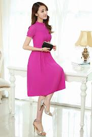New 2015 Spring Summer 4-colors Short Sleeve High Neck Chiffon Dress