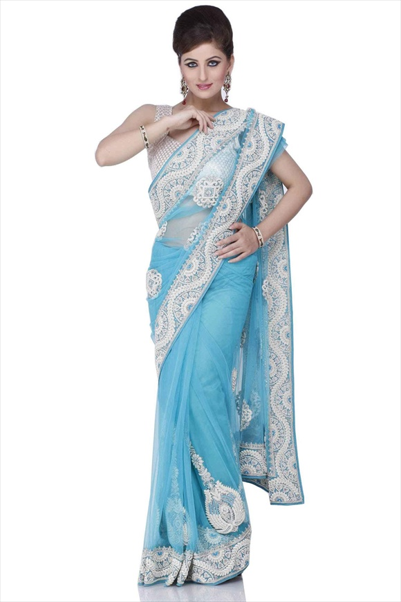 Turquoise Blue Net Saree