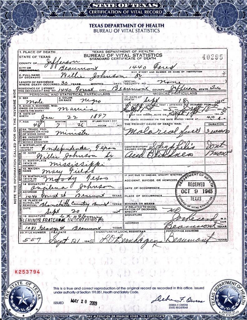 Fantástico Cómo Obtener Un Certificado De Muerte En Texas Regalo ...